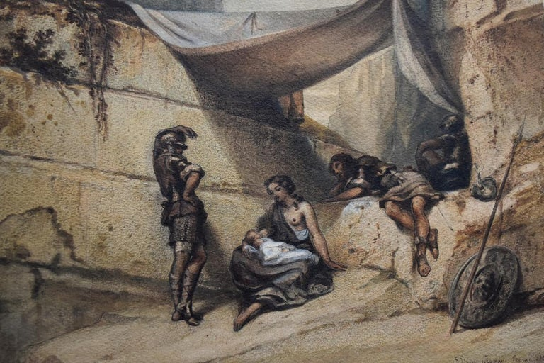 Unknown Figurative Art - Antique Scene, Woman and Infant with guards, watercolor signed dated 1847