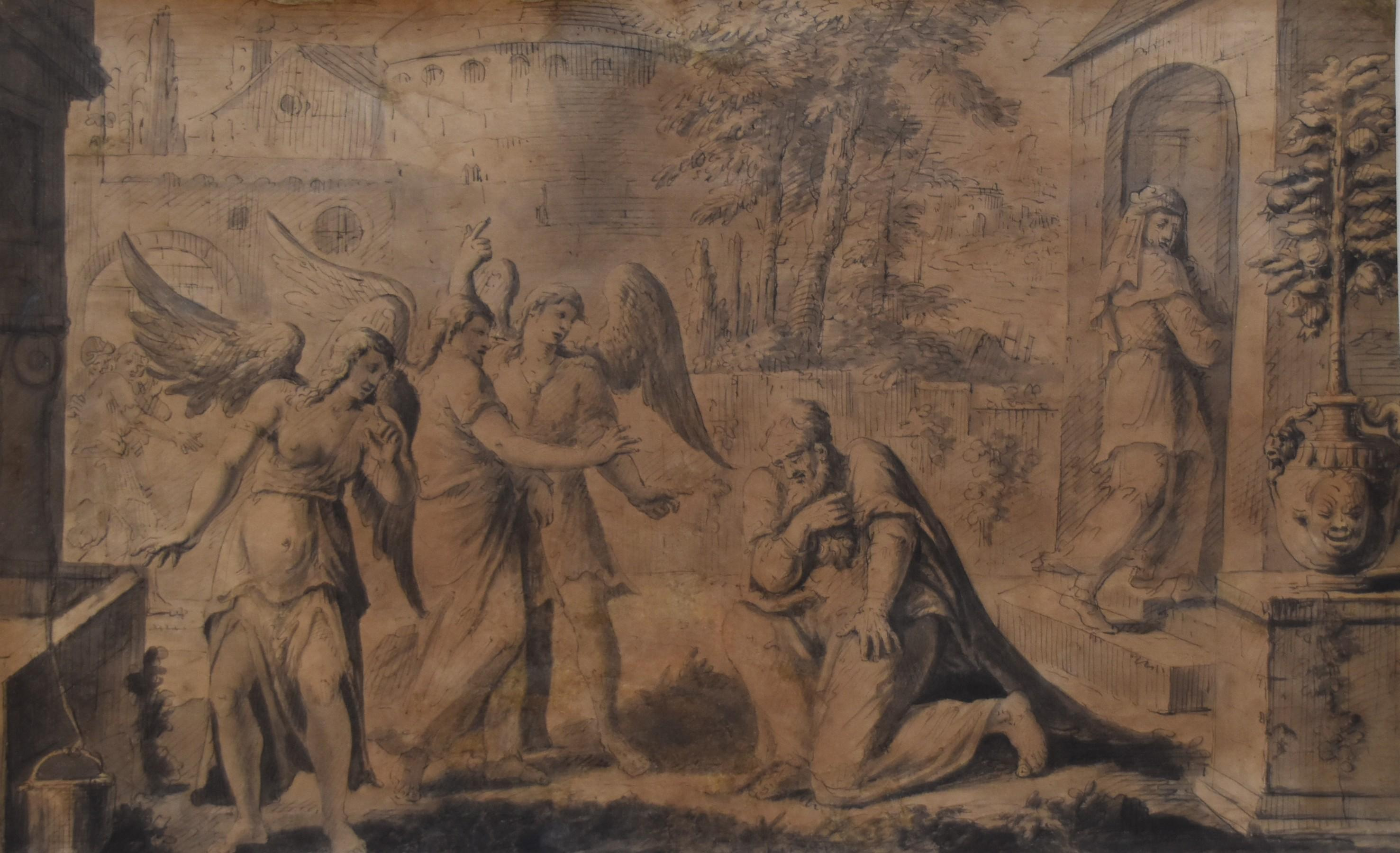 François Boitard (1670-1715) Abraham and the Three Angels, original drawing