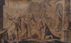 François Boitard (1670-1715) Abraham and the Three Angels, original drawing