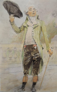France 19th Century, A young man from the French Revolution era, watercolor