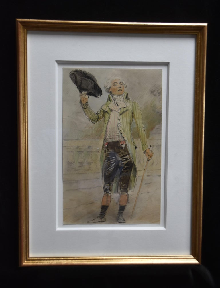 France 19th Century, A young man from the French Revolution era, watercolor - Art by Unknown