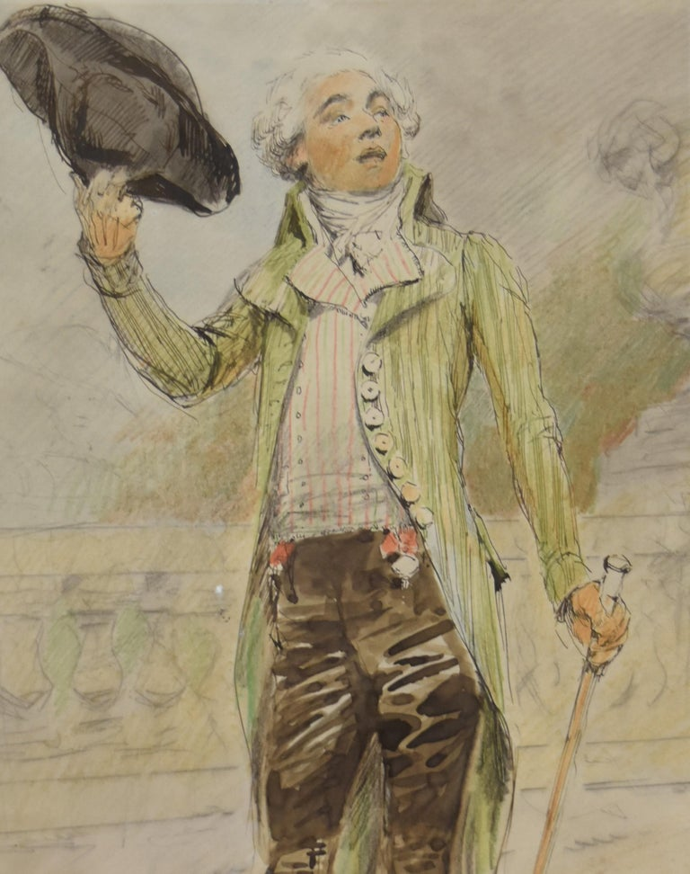 France 19th Century, A young man from the French Revolution era, watercolor - Academic Art by Unknown