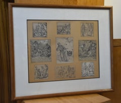 French School 19th century, Set of nine humoristic drawings, pencil on paper