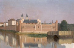 Prosper BARBOT (1798 -1877) View of the Melun prison,  Oil painting