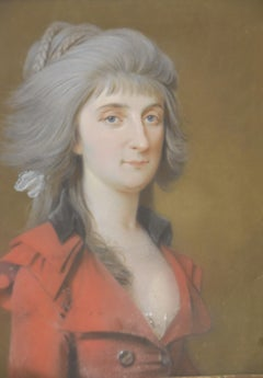 France 18th Century, A Lady in red, pastel