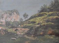 Jean Philippe George-Julliard (1818 – 1888) Landscape with a traveler, oil