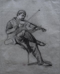 Felix Ziem (1821-1911) A Violonist, original drawing