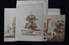 France 19th century, A Set of 7 drawings, landscapes and farms, Ink wash on pape