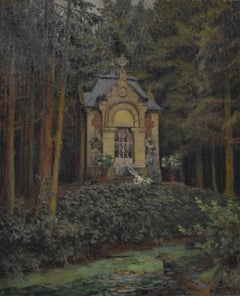 Louis Rodolphe Defontaine (1878-1962) A Chapel in the forest, 1913 Oil on canvas