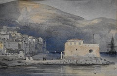 19th Century french school, Villefranche-sur Mer, the harbour, watercolor