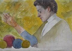 Michel Manzi (1849-1915) Portrait of his wife, Jeanne Manzi, watercolor on paper