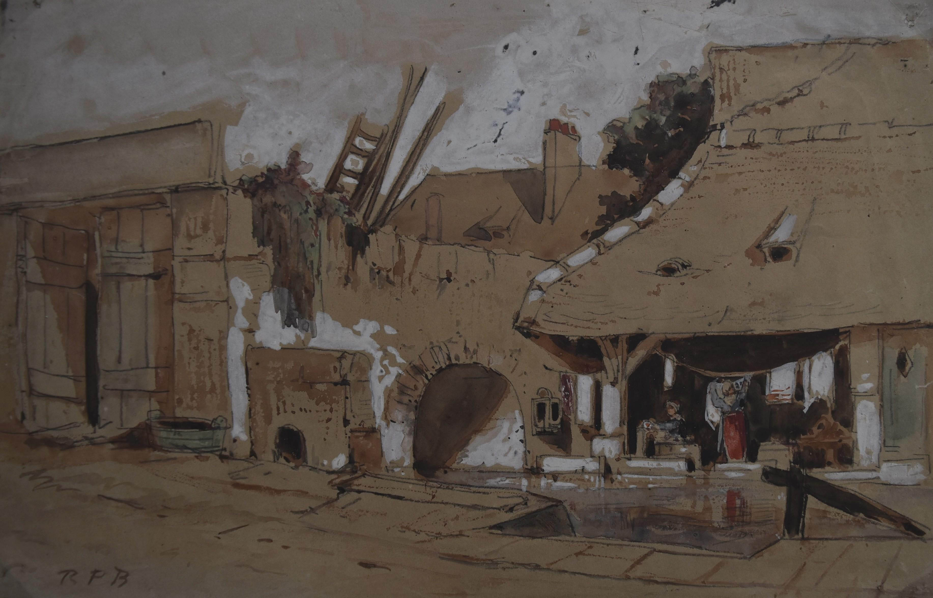French School 19th century, Le Lavoir, watercolor on paper,