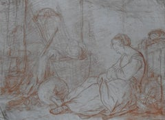 French School 18th century, A young maid asleep, red chalk on paper