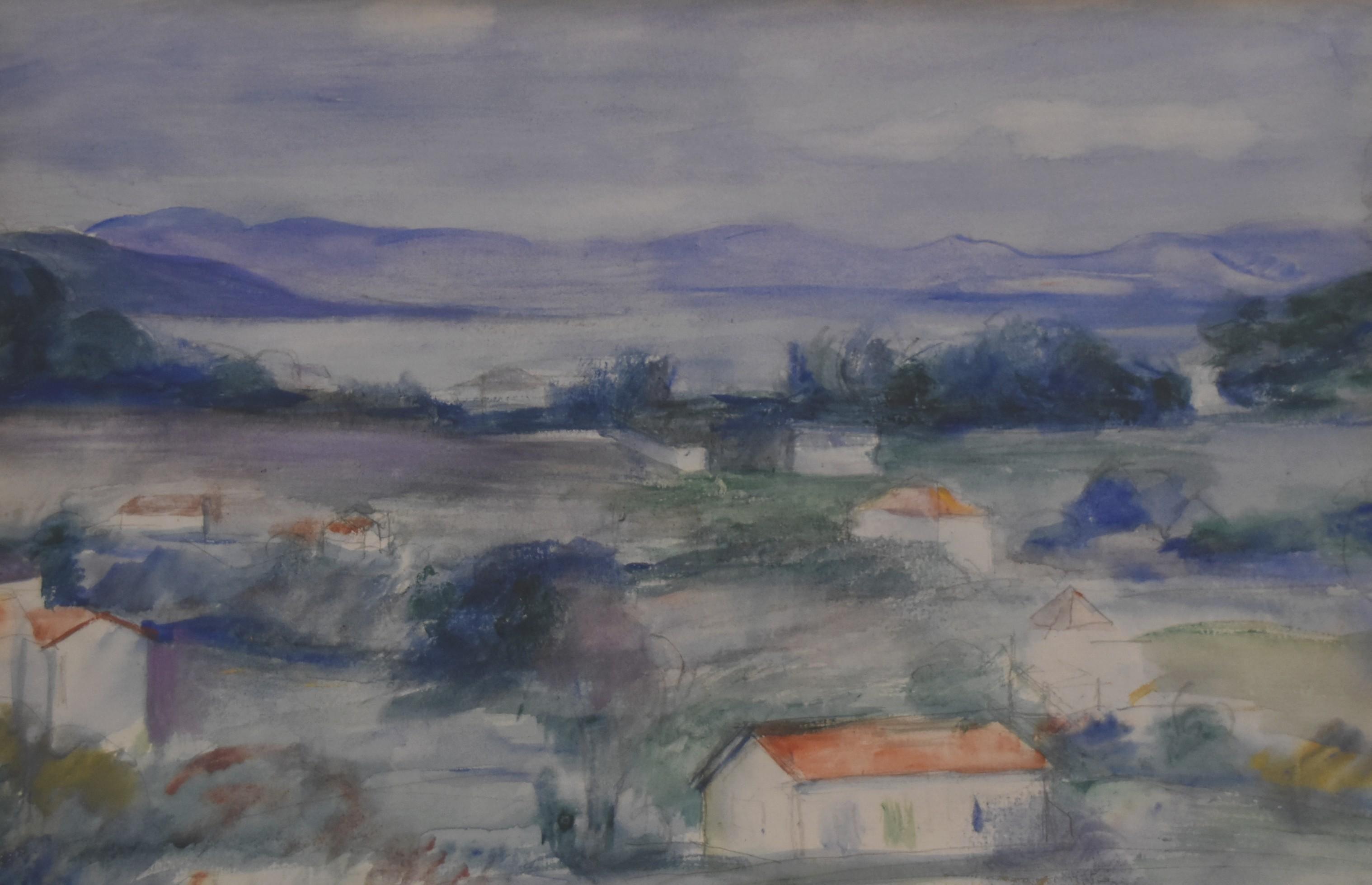 Attributed to Henri Ottmann (1877-1927) A Provence landscape, watercolor