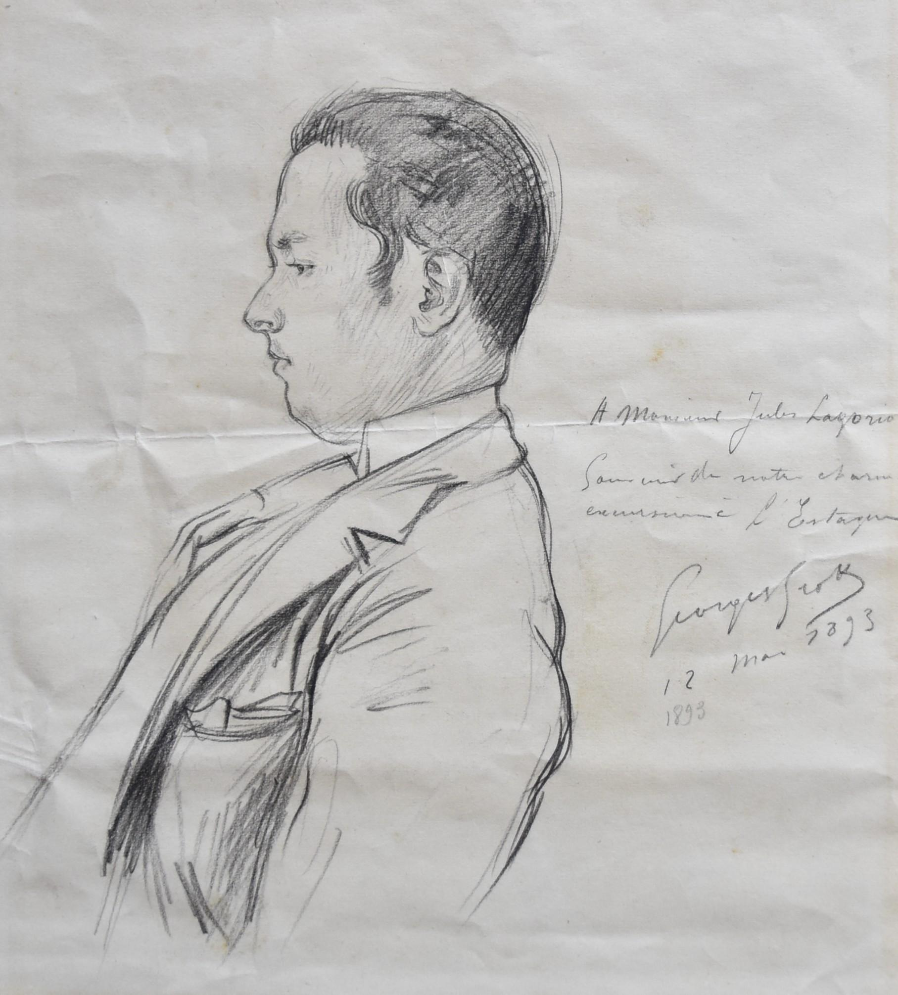 Georges Scott (1873-1943) Portrait of Jules Lagorio 1893, signed drawing