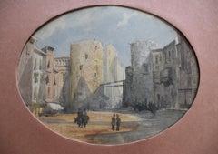 Henri Louis Scott (1846-1884) View of a square, watercolor