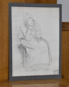 Jean-Pierre Laurens (1895-1932) A monk, study, original drawing