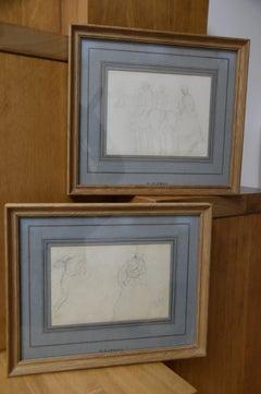 Henri-Louis Dupray (1841-1909) Studies of military horsemen, two signed drawings