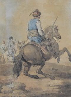 Attributed to Francesco Casanova (1727-1803), A Mamluk fighting , watercolor