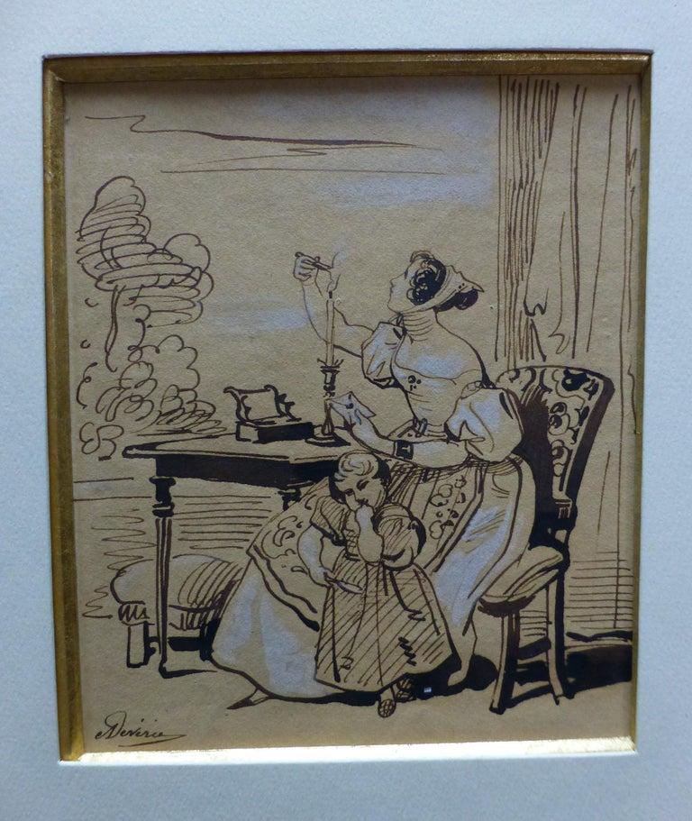 Achille Devéria (1800-1859) The Stamped Letter, Original Drawing - Academic Art by Achille Devéria