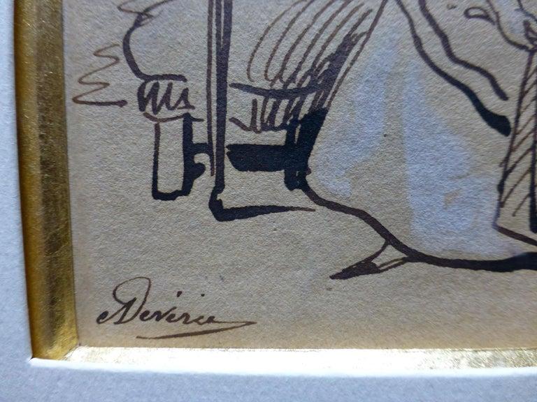 Achille Devéria (1800-1859) The Stamped Letter, Original Drawing - Gray Figurative Art by Achille Devéria