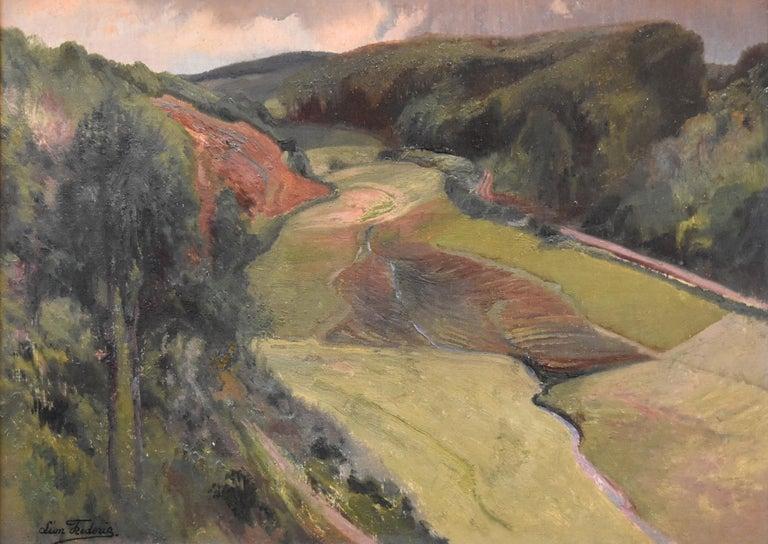 Léon Frédéric (1856-1940)  La Vallée de Nafraiture, Oil on panel - Painting by Léon Frédéric