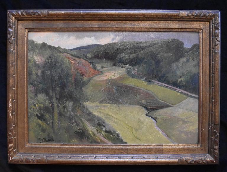Léon Frédéric (1856-1940)  La Vallée de Nafraiture, Oil on panel - Post-Impressionist Painting by Léon Frédéric
