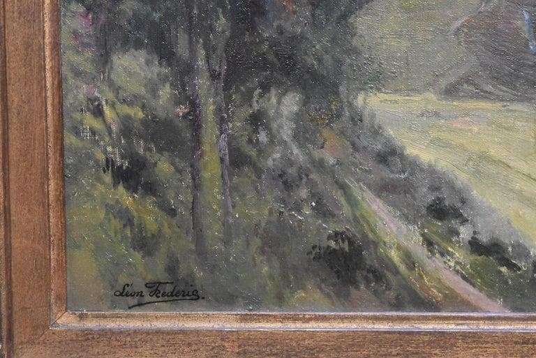 Léon Frédéric (1856-1940)  La Vallée de Nafraiture, Oil on panel - Gray Landscape Painting by Léon Frédéric