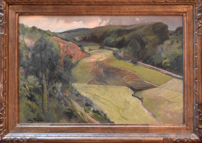 Léon Frédéric (1856-1940) Vallée de Nafraiture Signed on the lower left Oil on panel 30 x 44.5 cm Original Frame  :40 x 55 cm   Léon Frédéric  was a Belgian Symbolist painter.  In 1883, he moved to Nafraiture, in the Belgian Ardennes. He painted the