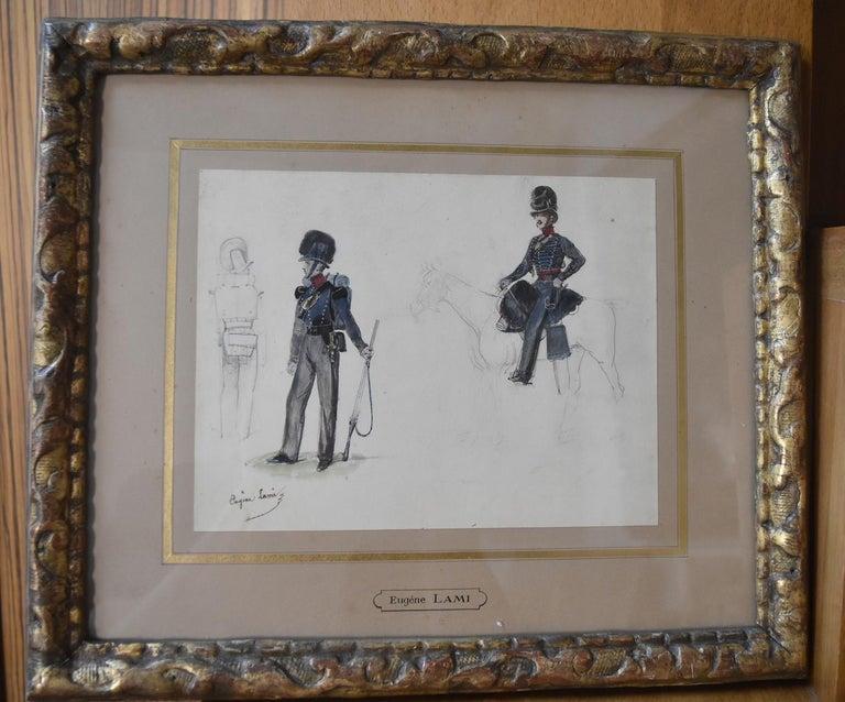 Eugène Lami (1800-1890)  Studies of a horseman and soldiers  Watercolor  - Art by Eugene Louis Lami