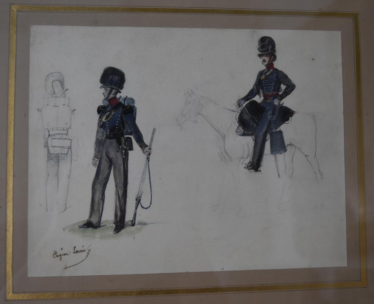 Eugène Lami (1800-1890)  Studies of a horseman and soldiers  Watercolor  - Academic Art by Eugene Louis Lami