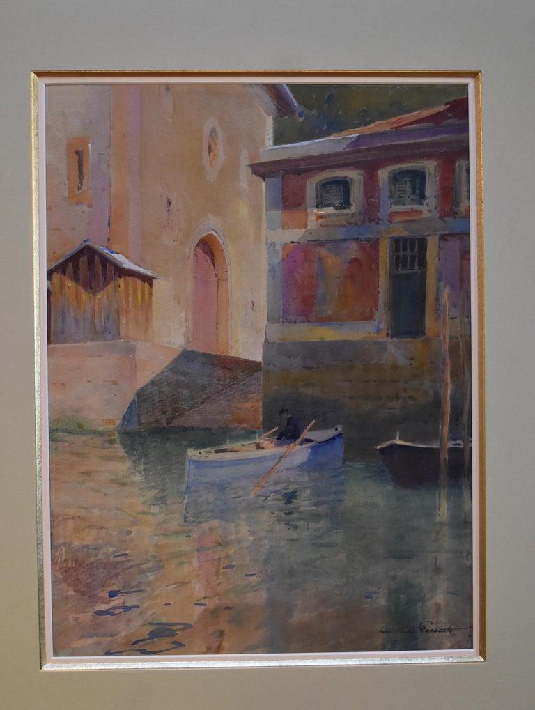 Paul Emile Lecomte (1877-1950)  A Canal in Venice, watercolor - Post-Impressionist Art by Paul Emile Lecomte