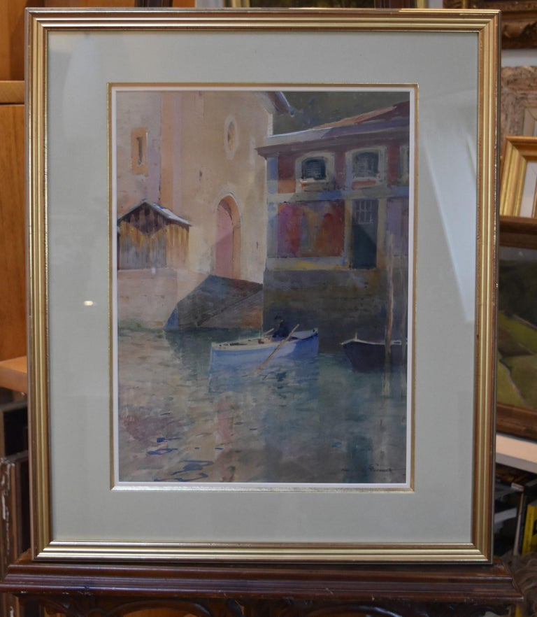 Paul Emile Lecomte (1877-1950)  A Canal in Venice, watercolor - Gray Landscape Art by Paul Emile Lecomte