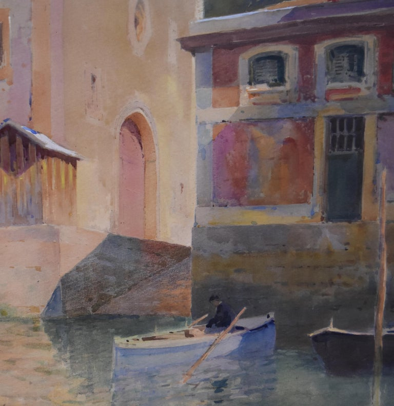 Paul Emile Lecomte (1877-1950) A Canal in Venice Signed lower right Watercolor on paper 45.5 x 33.5 cm  Framed 64 x 54 cm  Paul Emile Lecomte (1877– 1950). Painter of watercolors and oil paintings, etcher, and engraver. He was the pupil of Fernand
