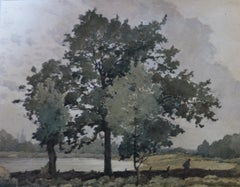 Henri Harpignies (1819-1916) Landscape with three big Trees, Watercolor