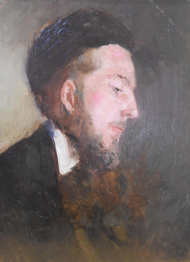 Paul Tavernier (1852-1943) Portrait of a Young Man, Oil On panel - Painting by Paul Tavernier