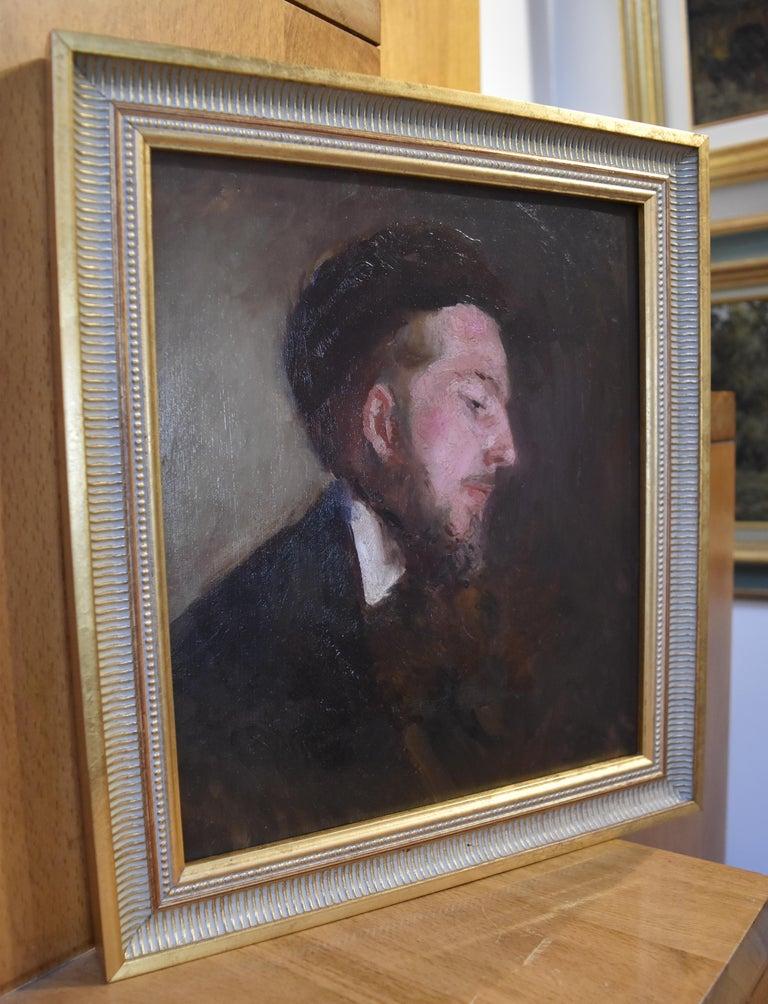 Paul Tavernier (1852-1943) Portrait of a Young Man, Oil On panel - Gray Portrait Painting by Paul Tavernier