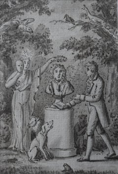 Hommage à la Fontaine, 18th Century, Academic, French School, Figurative drawing
