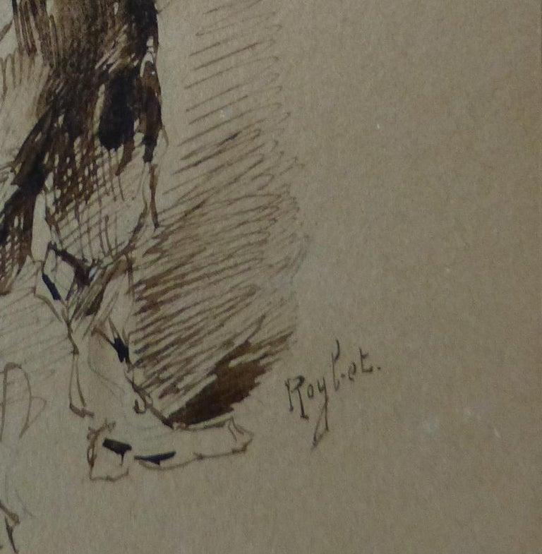 Ferdinand Roybet (1840-1920) A Musketeer, study, Drawing in its original frame - Academic Art by Ferdinand Roybet