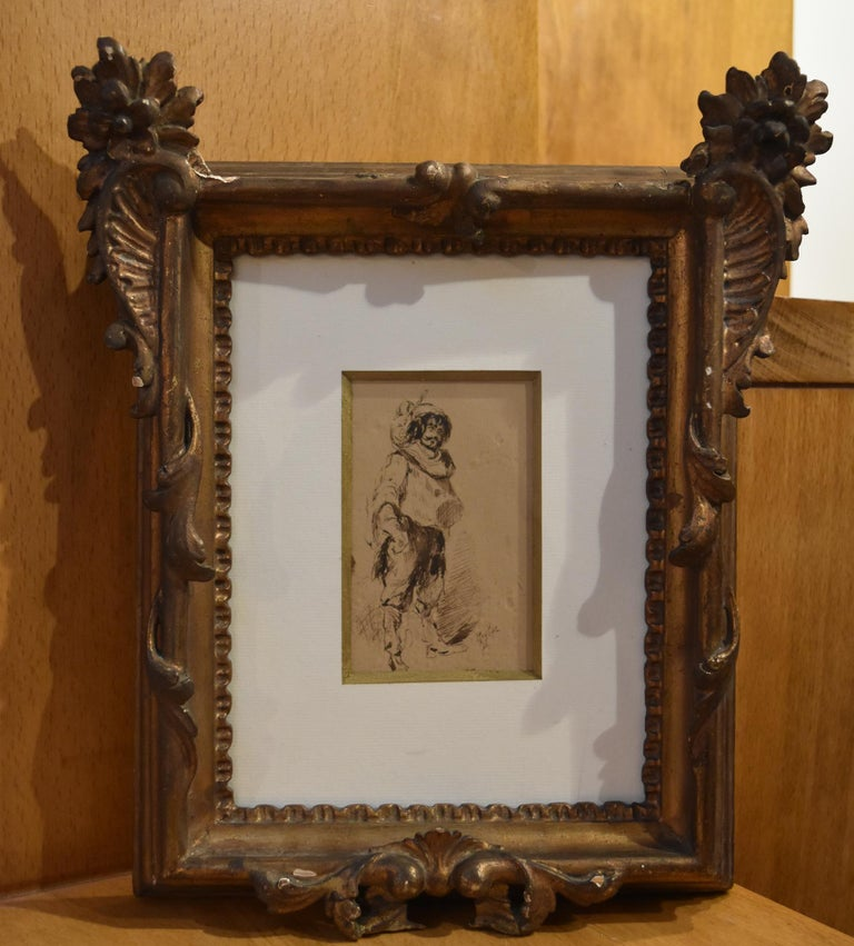 Ferdinand Roybet (1840-1920) A Musketeer, study, Drawing in its original frame - Gray Portrait by Ferdinand Roybet