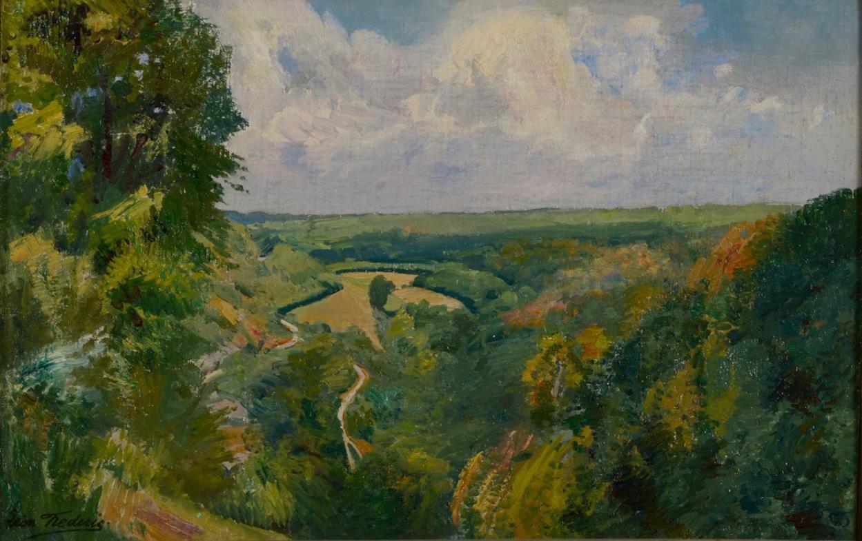 Léon Frédéric (1856-1940)  Paysage de Nafraiture, Oil on panel
