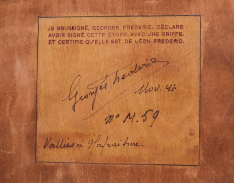 Léon Frédéric Paysage de Nafraiture Signed with the stamp of its son Georges Frédéric on the lower left Oil on panel 29.5 x 44.2 cm Certificate of Georges Frederic, son of the artist, on the reverse with the title and an official Inventory