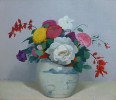 LV Guirand de Scevola  (1871-1950) A bunch of flowers in a chinese vase, oil