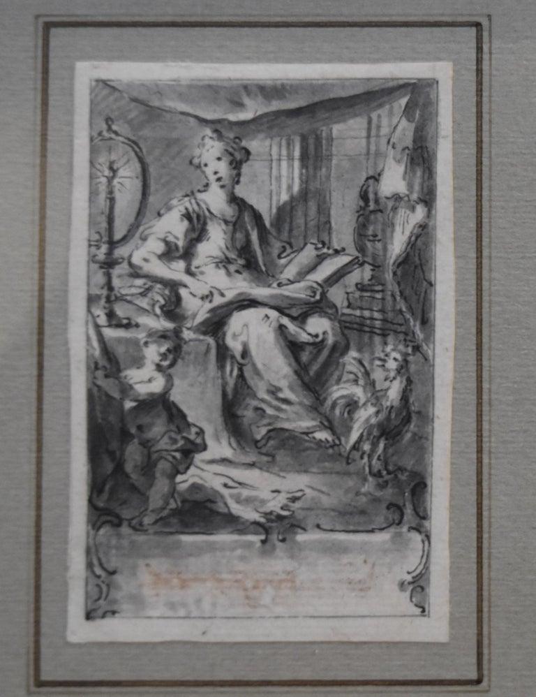 H F Gravelot, Two Allegories, Faith and Vigilance, Pen and Ink - Art by Hubert-François Gravelot