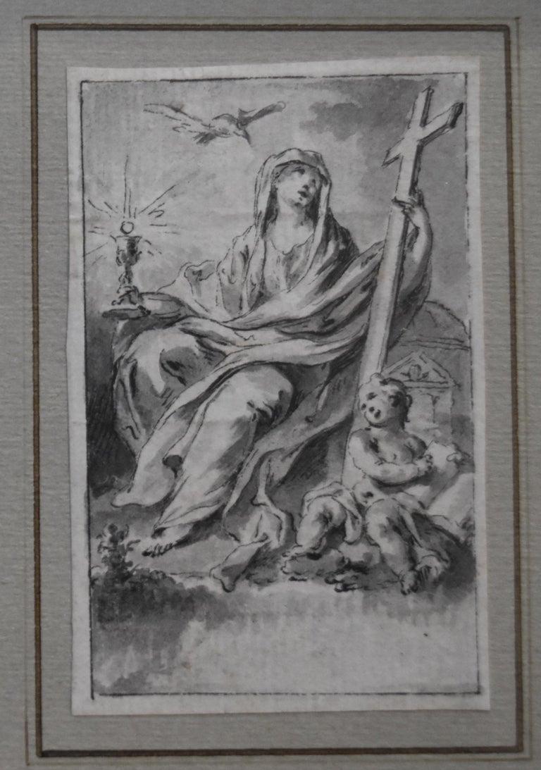 H F Gravelot, Two Allegories, Faith and Vigilance, Pen and Ink - Academic Art by Hubert-François Gravelot