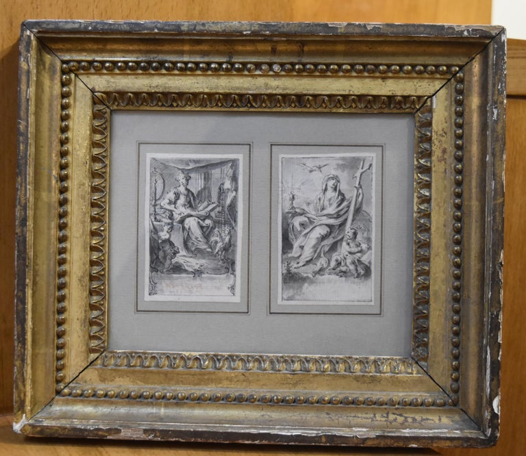 H F Gravelot, Two Allegories, Faith and Vigilance, Pen and Ink - Gray Figurative Art by Hubert-François Gravelot