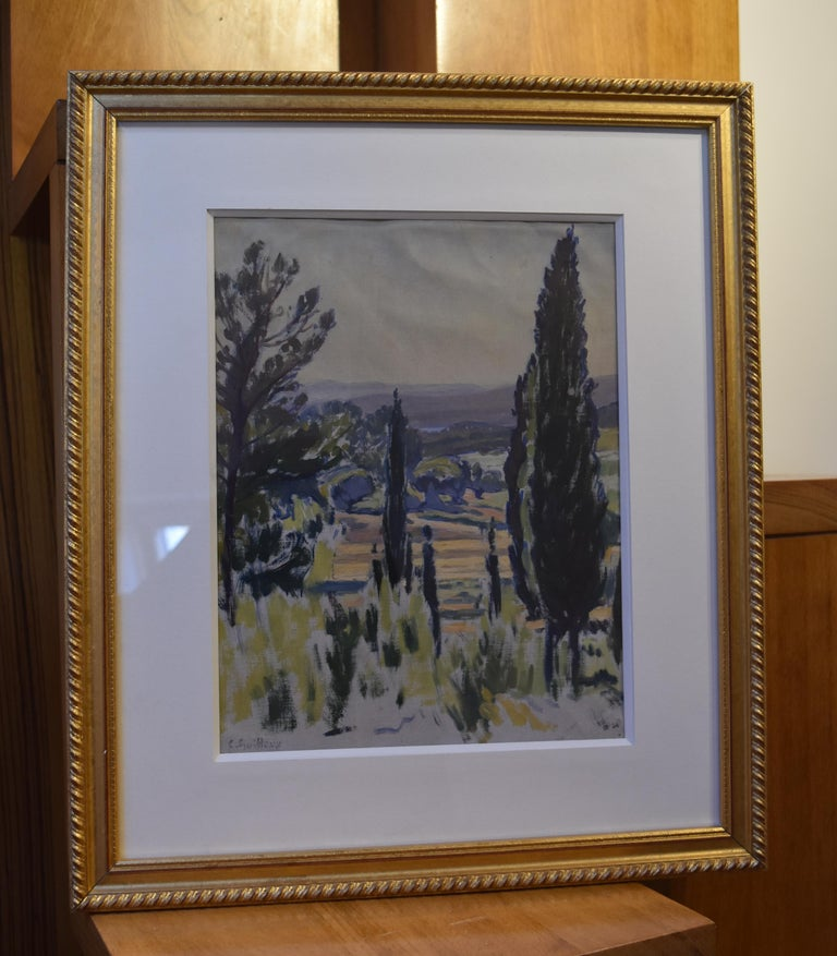Charles-Victor Guilloux (1866-1946)  Landscape in Provence Oil  - Art Deco Art by Charles-Victor Guilloux