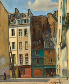Jean de GAIGNERON (1890 - 1976) A street in Paris, oil
