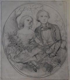 Eugène Devéria  (1805-1865) The Children of the painter Drawing