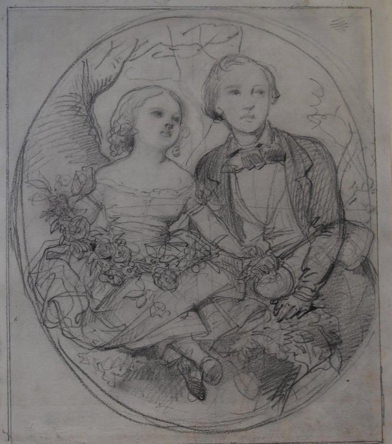 Eugene Deveria Portrait - Eugène Devéria (1808-1826) The Children of the painter Drawing